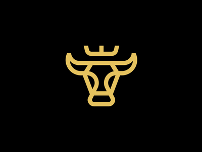 Bull / logo design cow diet cattle ox crown mascot line animal symbol mark logo food premium meat beef bull
