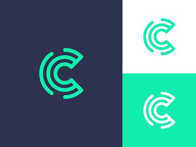 C / logo design technology tech host c data hosting abstract logo mark network wire identity