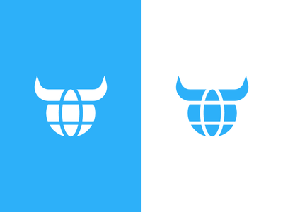 bull / globe / logo design trade global business sales horns creation cow cattle animal branding identity logo world delivery export import food bull globe meat