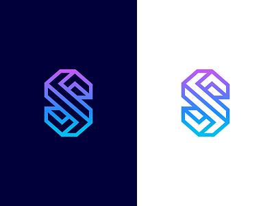 S / 3D / illusion / logo design lettermark smart escher symbol mark logo s 3d