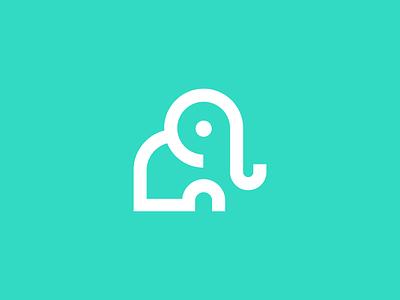 elephant / logo design wisdom animal symbol logo monoline clever memory elephant