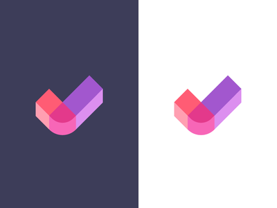 checkmark / logo design modern logo block letter block verify approve check confirm abstract 3d branding identity symbol mark logo data checkmark