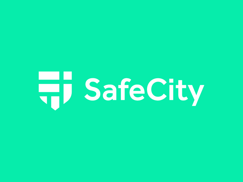 SafeCity / shield / map / logo design neighborhood block district area iconic branding logo shield logo city guide secure flat symbol icon shield town city street map security safe