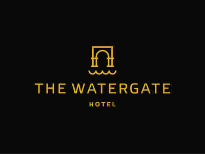 The Watergate / hotel / logo design simple line art waves arch hostel lineart luxurious luxury logo abstract modern water gate watergate hotel