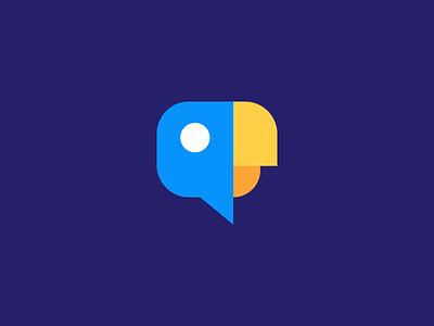 Parrot / chat bubble/ logo design language talking bird colour bird icon branding conversation talk bird parrot chat bubble