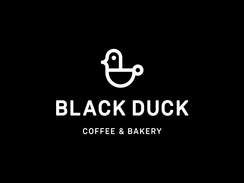 Black Duck / logo design smart logo branding cup modern bird drink food restaurant coffee  bakery black duck