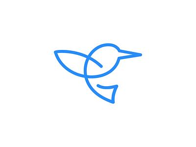 Hummingbird / logo design handdraw swift fast simple freedom wings animal line logo path monoline logo bird colibri hummingbird
