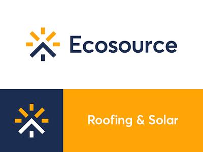 ecosource / roof / sun / logo design solar energy solar sun rays sun ecology construction roofing roof house eco