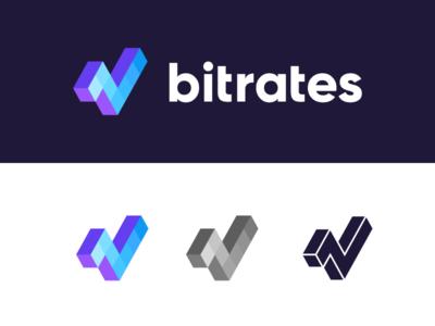 Bitrates / logo design fintech isometric logo designer branding symbol logo bits diagram digital money rates news graph money finance trade cryptocurrencies cryptocurrency bitcoin litecoin ripple ethereum