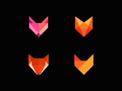 Fox logo collection contrast8 logog design iconic mutt pup dinamic flat color geometry cur head identity branding modern abstract flat smart intelligent wise mascot animal fox