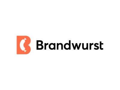 Brandwurst, logo design contrast8 naming joke fun funny worst food meat iconic fun negative space b brands branding logo brand sausage wurst