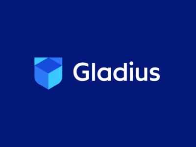 Gladius / logo design deividas bielskis geometric logo safe cryptocurrency technology logo software geometric block cube gladiator gladius shield security crypto currency crypto trading digital blockchain
