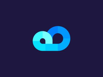 Cloud deividas bielskis startup minimal iconic symbol fake gradient flat colors rain circle identity icon abstract geometric blue technology tech digital data logo cloud