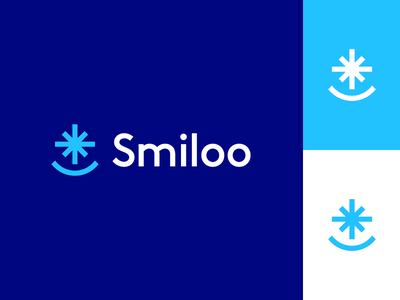Smiloo creative logo flat logo startup cold frost mouth whitening teeth branding icon minimal logo shine star white joy snowflake snow face smile