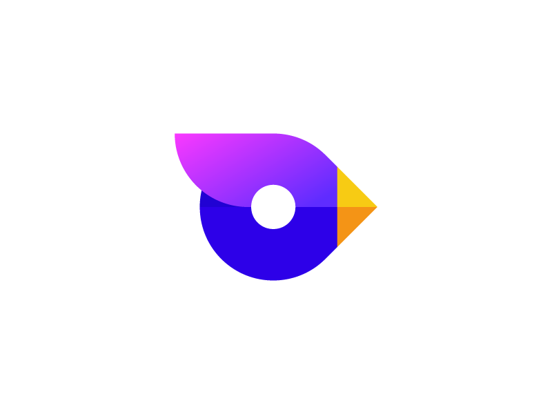 Bird deividas bielskis simple o animal geometric logo blend abstract art fresh colors birdie cute modern sing abstract minimal branding gradient symbol mark logo bird