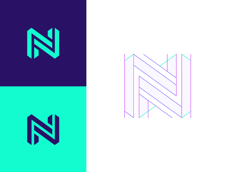 N structure colors geometric flat logo mark branding guides geometry logo guides logo construction n logo 3d grid logo grids