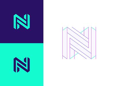 N structure colors geometric flat logo mark branding guides geometry logo guides logo construction n logo 3d grid logo grids