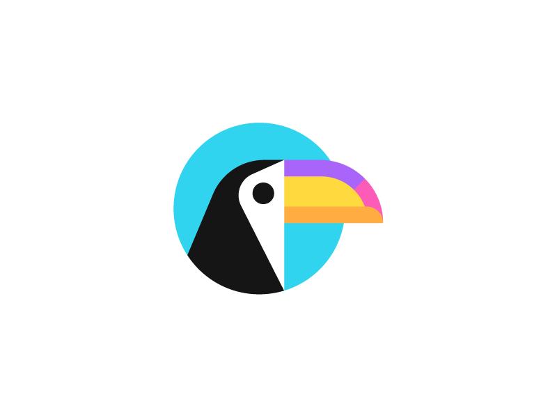 Toucan, logo design travel logo creative logo flat logo startup toucan vacation travel holiday bird logo illustration branding identity tropics travel agency geometric geometry mascot icon symbol