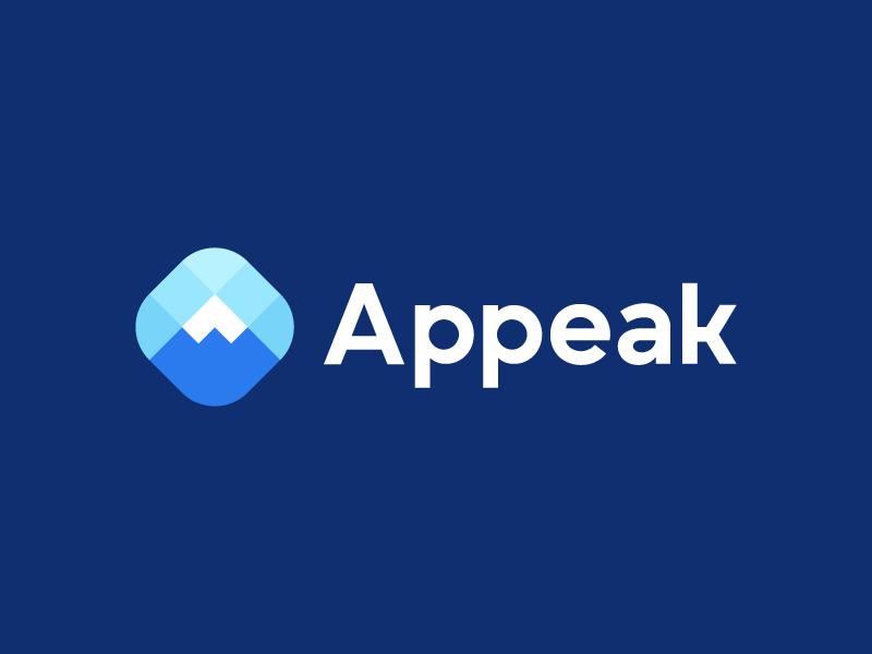 Appeak, logo deign logo designer platform productivity modern logo poly input data nature logo app a team management group connect connection mountain peak objetive top