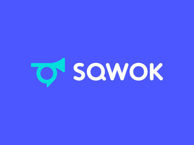 Sqwok bugle custom typography smart logo gather horn chat speak iconic debate conversation news discussion chat bubble branding communication logo talk sound loud trumpet discuss