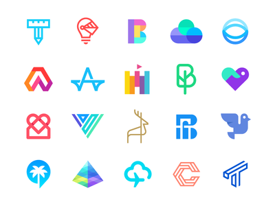 Logolounge selection crypto startup cryptocurrency iconic flat logo collection smart monoline technology bird modern icon geometric data animal abstract identity mark branding logo