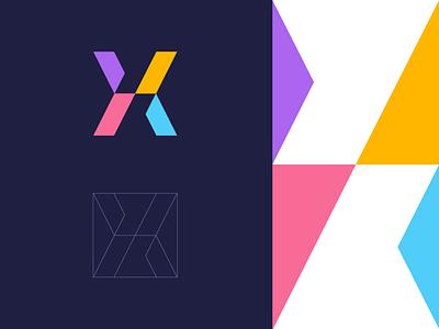 X road color minimal iconic technology modern icon geometric data abstract lettermark identity mark branding symbol logo