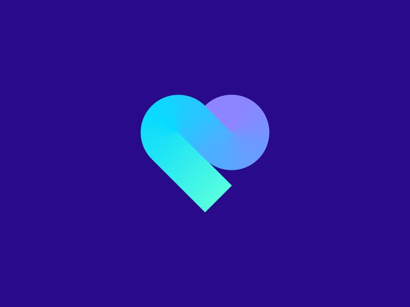 Heart luv date minimal gradient color simple startup geometric heart like love amor road path abstract lettermark identity mark branding symbol logo