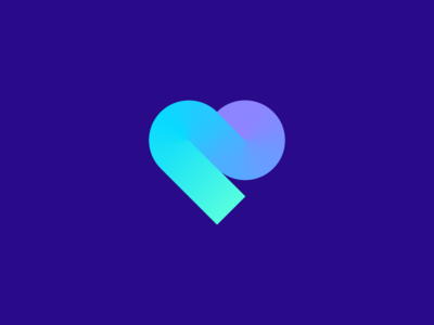 Heart logo designer luv date minimal gradient color simple startup geometric heart like love amor road path abstract lettermark identity mark branding symbol