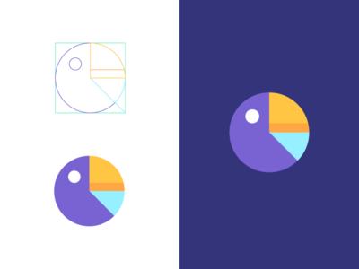 Parrot / pie chart branding logo geometric mascot animal bird pie chart parrot