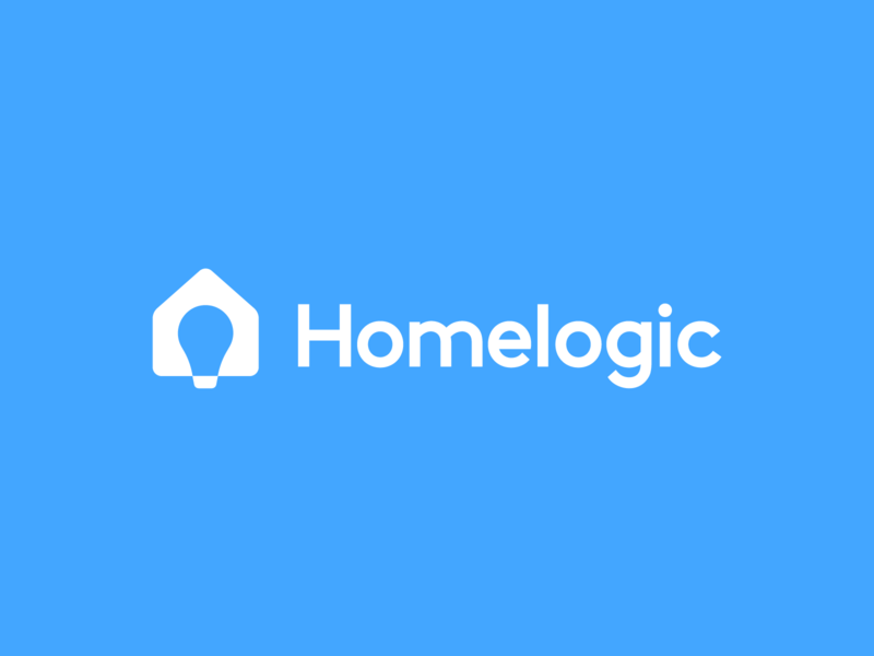 Homelogic residence startup mansion apartment marketplace negative space branding minimal iconic logic think thinking bulb creative smart light icon logo house home