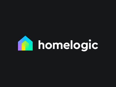 Homelogic branding fresh colors fresh gradient line path online data tech technology connection jome