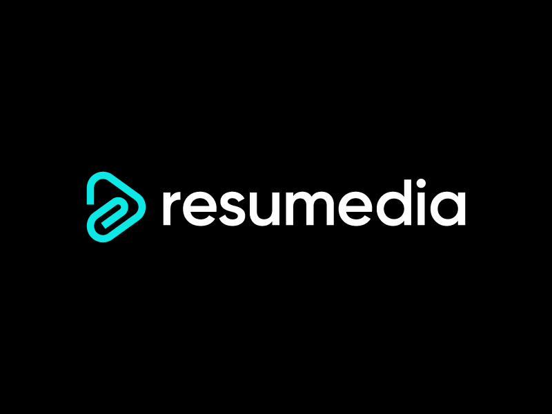 Resumedia logo designer paper clip position carrer office jobseek publish line arrow vacancy smart minimal modern branding and identity branding play resume cv job