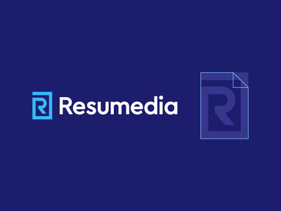 Resumedia r logo paper job cv resume logo play branding branding and identity modern minimal smart vacancy arrow line publish jobseek assignment office carrer