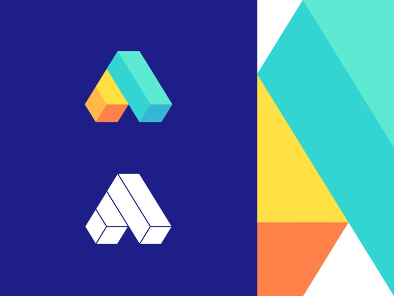 A logo designer logo isometric logo mark a data technology 3d effect abstract logo digital media advertising technical platform connection branding and identity logo design flat logo modern artificial intelligence geometrical