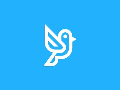 Bird branding blue icon symbol startup animal linework geometric vision precission fly flight wings freedom bird