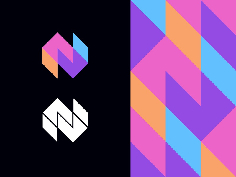 N experimental colour scheme service fresh colors pattern abstraction geometric modern logo digital workspace screen desktop tech technology identity branding vivid fresh abstract n letter logomark
