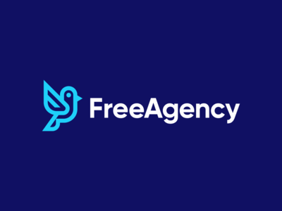 FreeAgency mascot corporate bird freedom wings fly flight precission vision geometric linework animal startup icon symbol blue branding