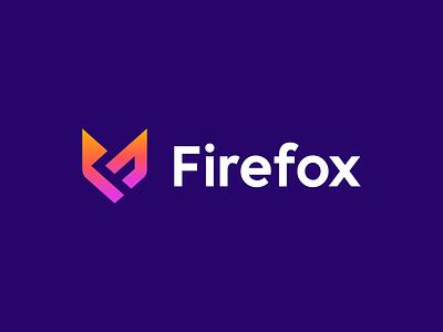 Firefox geometric logo animal logo minimalistic logo gradients deividas bielskis gradient logo saas negative space simple logo monogram colors internet identity firefox f fox animal branding minimal fun
