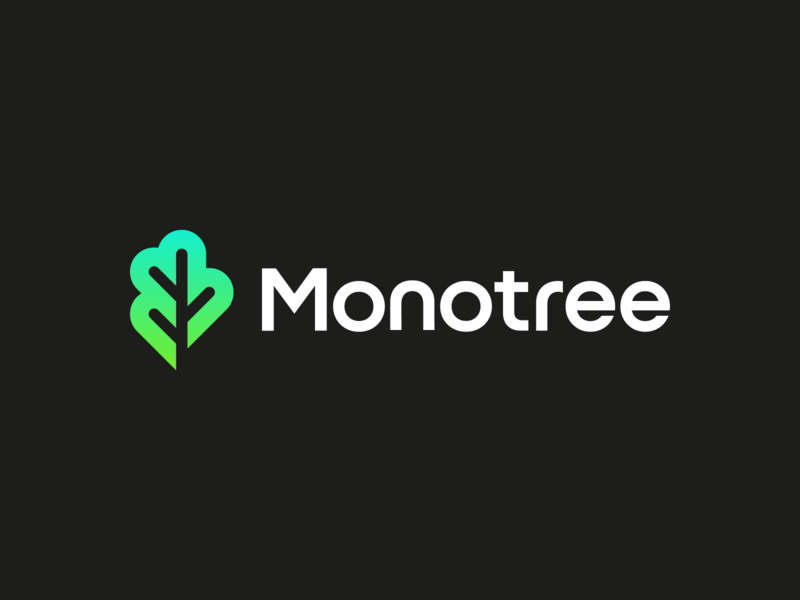 Monotree technology tree logo geometric mm iconic minimal simple company branding m monotree startup mobile intranet wifi tree plant startup branding identity monogram gradient