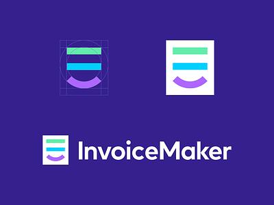 InvoiceMaker fun friendly smile invoice design invoice maker icon branding paper