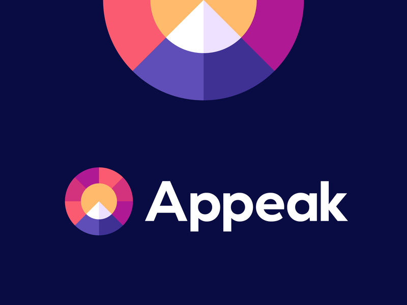 appeak sunset sun objetive peak mountain connection connect group management team a app logo nature data input poly modern logo productivity platform