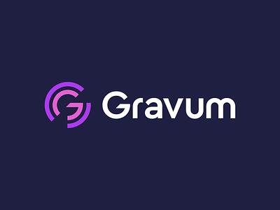 Gravum logo symbol branding mark identity lettermark abstract data geometric modern technology design software development tech