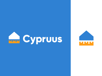 cypruus logo branding home balance measure level geometric construction company house build meter building construction