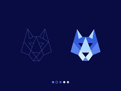 wolf logo design original unique game gaming fresh logo startup logo guides construction origamy dog paper origami polygon poly iconic branding mascot geometric animal wolf