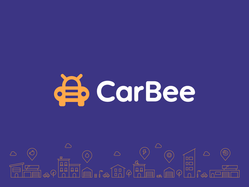 CarBee automotive car engine iconic friendly fun insect bug bee service fix repair shop branding logo automobile auto repair