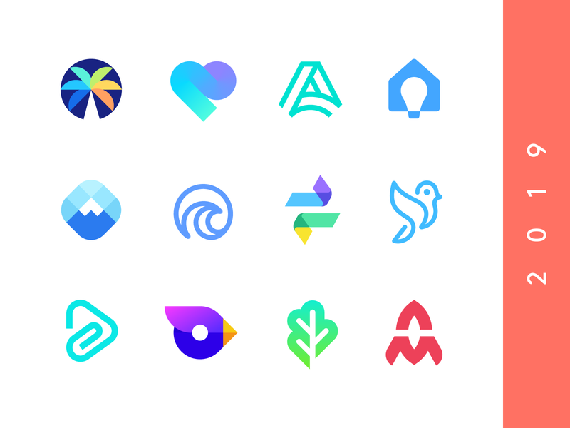 collection abstract identity arrows negative space smart logos tree palmtree peak mountain clip modern gradients heart opera bird logo collection branding logos pantone 2019 collection