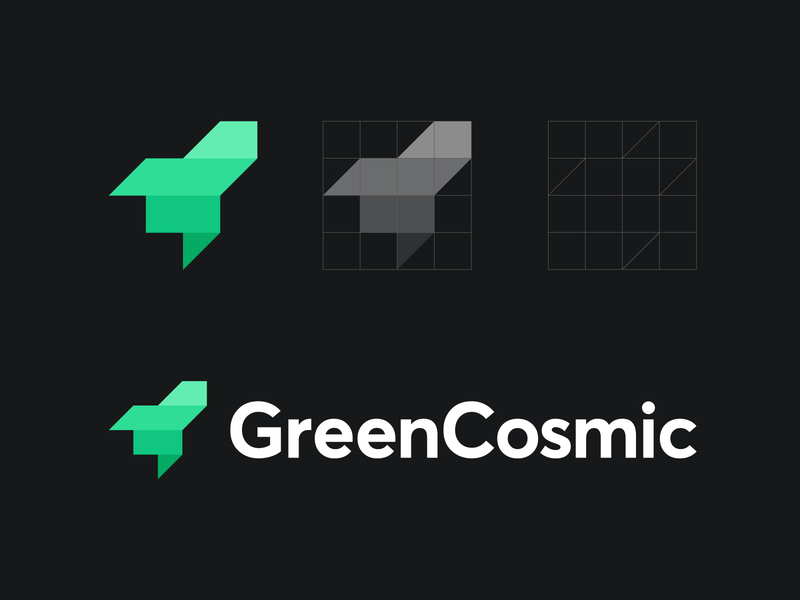 GreenCosmic cosmos speed currency launch identity branding design flat roi consultacy application cosmic space value branding finance conversion green money rocket