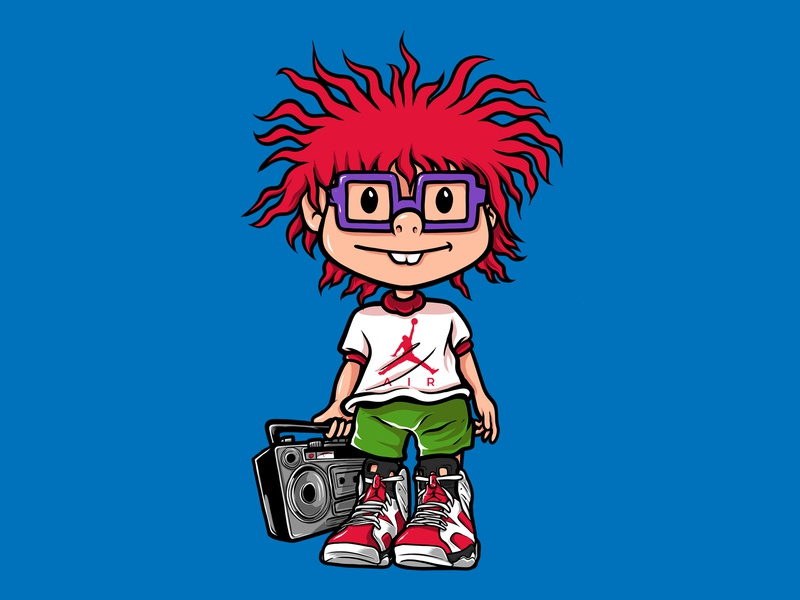 Chuckie shoes jordan kids rugrats mascot tshirt design illustration