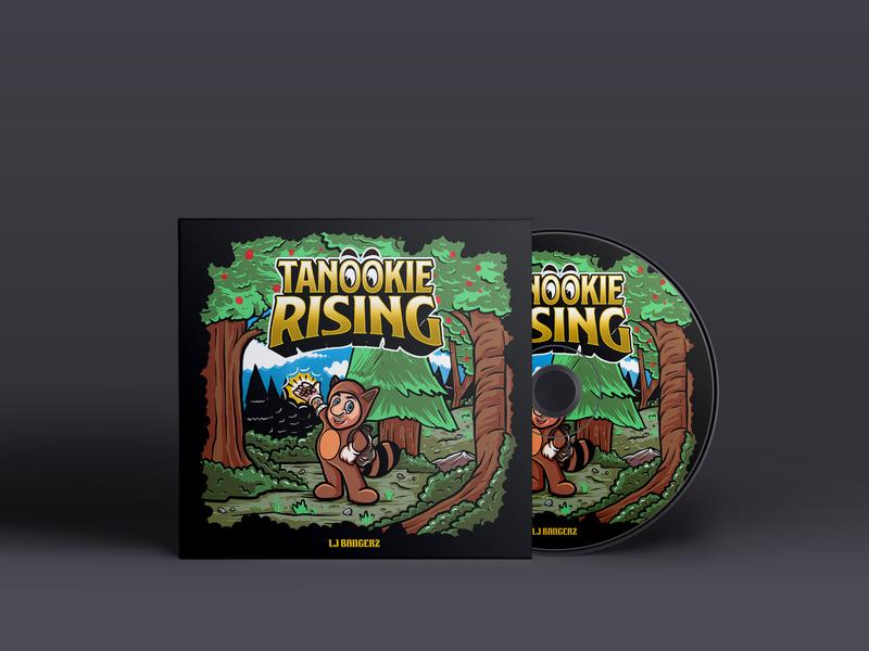 LJ BANGERZ - Tanookie Rising hip hop cover hip hop band band merchandise album cover album art sasongkoanis cartoon illustration artwork album