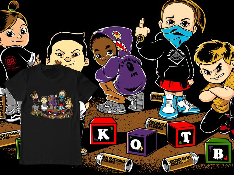 Kids Merchandise character design air jordan nike jordan design mascot hip hop cover cartoon band merchandise artwork tshirt design illustration